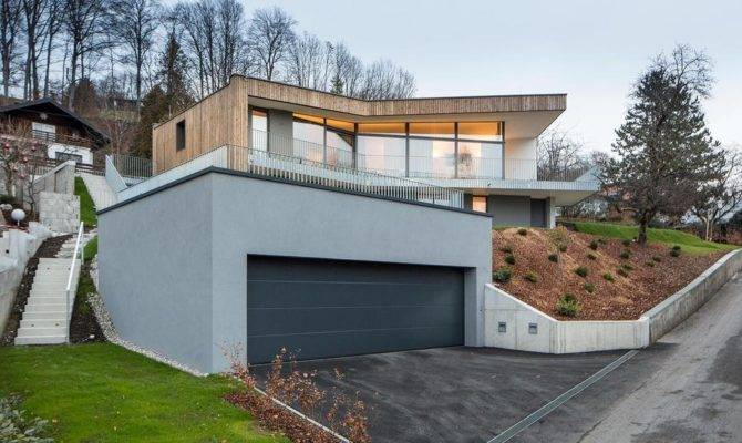 Storey Home Steep Slope Grass Roofed Garage