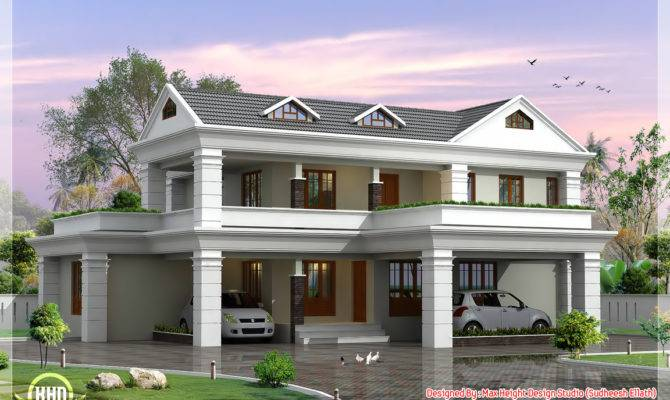 Storey Sloping Roof Home Plan Kerala Design Floor Plans