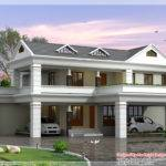 Storey Sloping Roof Home Plan Kerala House Design Idea