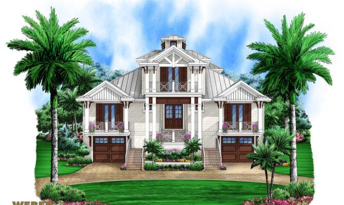 Story Old Florida House Plan Beach Outdoor Living