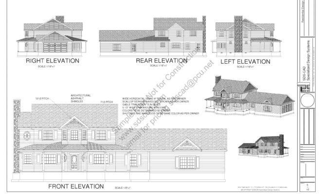 Story Porch House Plan Blueprints Construction Drawings Sds Plans