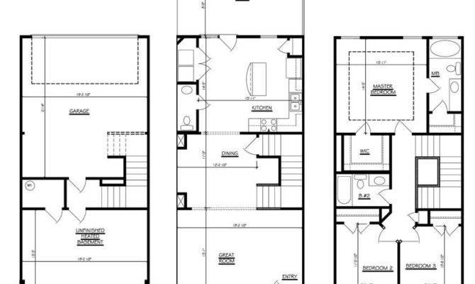 Story Townhouse Floor Plans Car