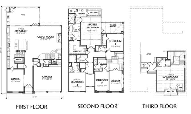 Story Townhouse Floor Plans Sale