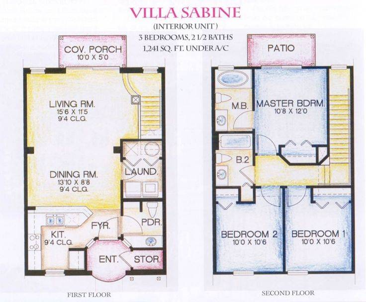 Story Villa Floor Plans Sabine Arts, Small 1 2 Story House Plans