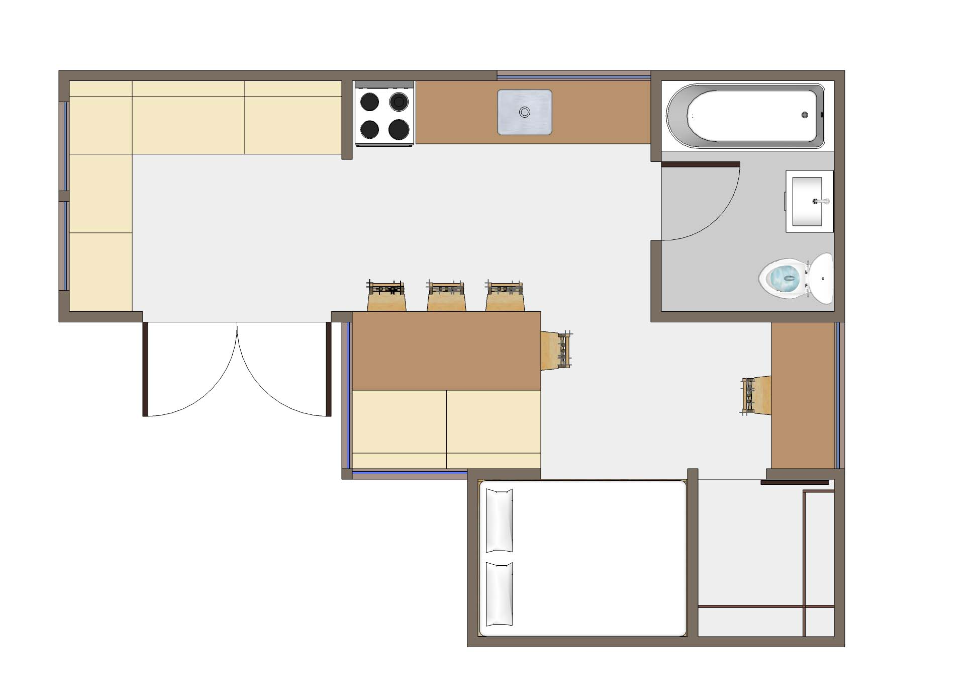 Studio Apartment Design Layouts Small House Plans 133011