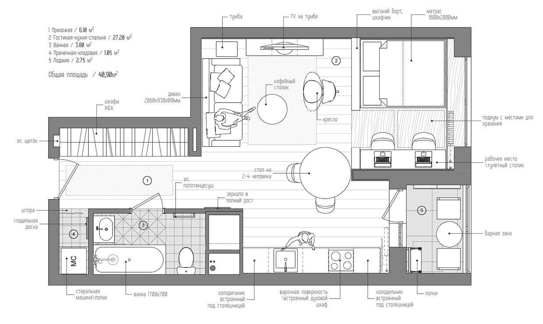 Studio Apartment Floor Plan Interior