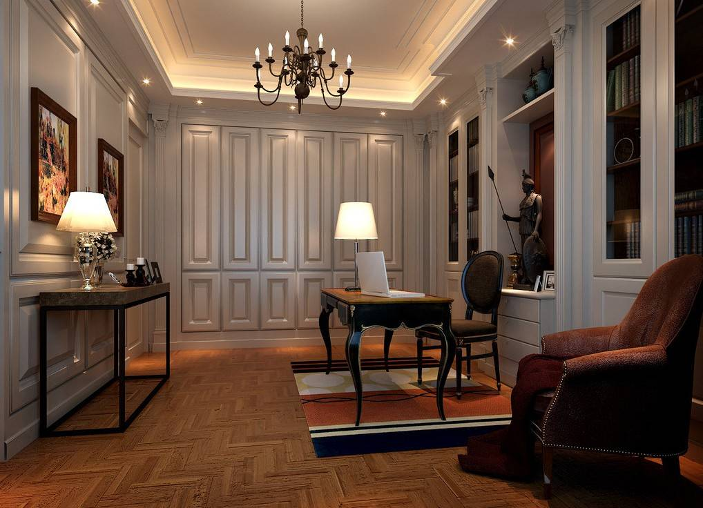 Study Neoclassical Interior Lighting Design   House Plans ...