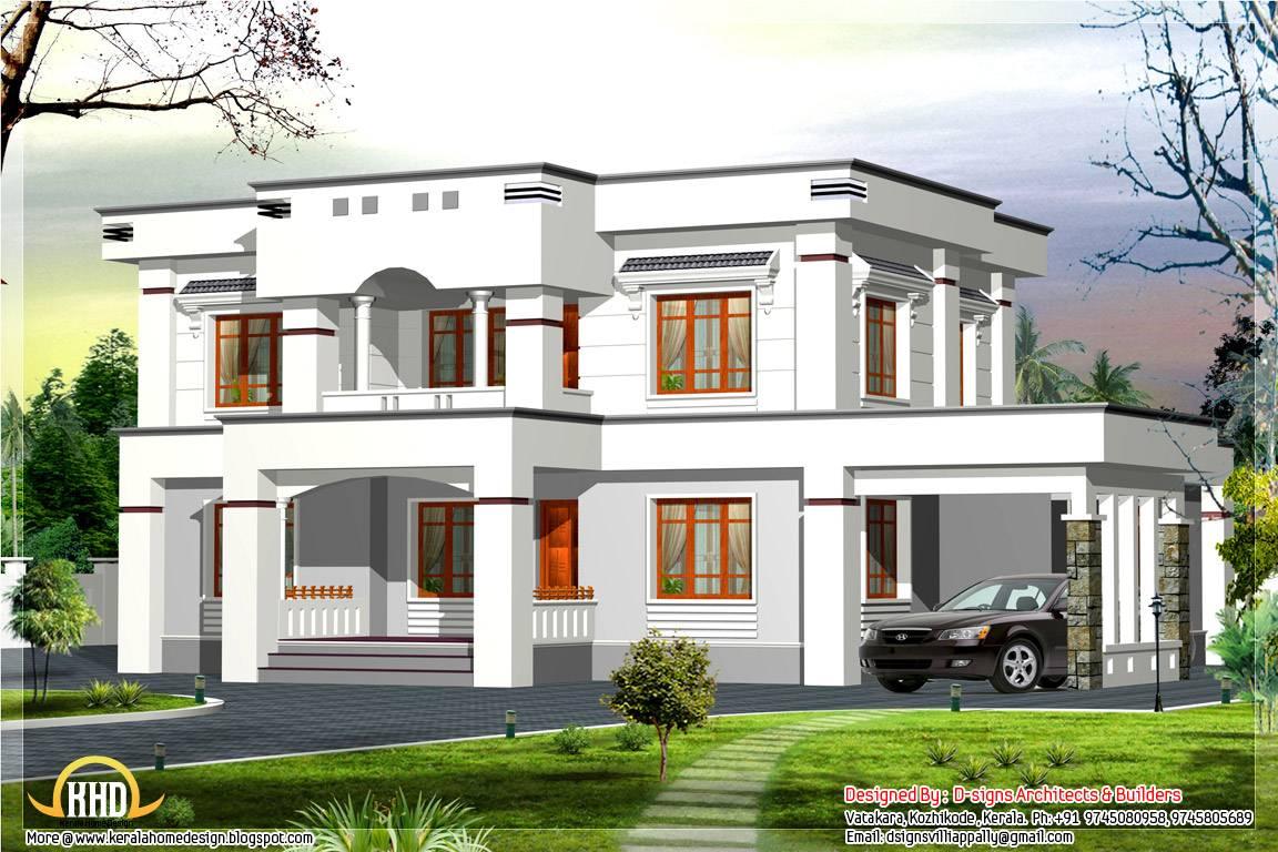 Stylish Flat Roof Home Design Kerala House Plans 77871