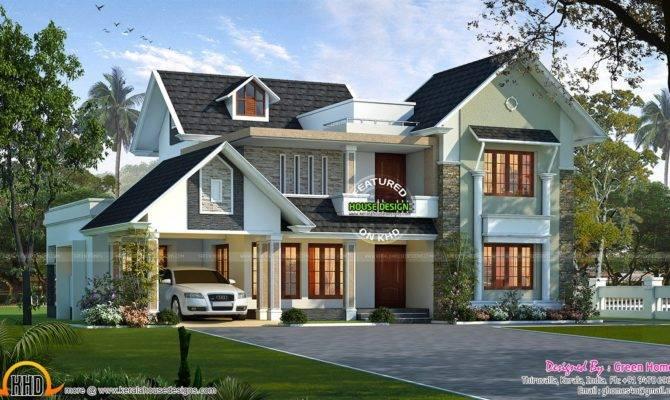 Stylish Sloping Roof Villa Kerala Home