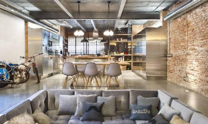 Sunken Sofa Brick Wall Loft Style Home Terrassa Spain
