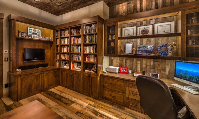 Sustainable Mountain Home Rustic Office Library