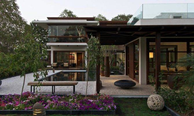 Terrace Pergola Courtyard House Hiren Patel Architects