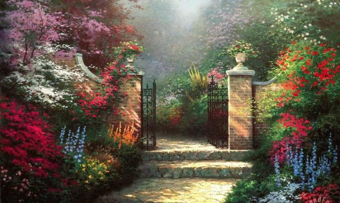 Thomas Kinkade Victorian Garden Painting