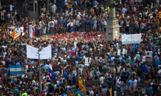 Thousands Spain March Against Terror Attacks Barcelona
