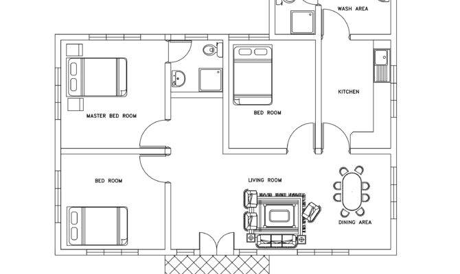 Three Bed Room Small House Plan Dwg Cad Blocks