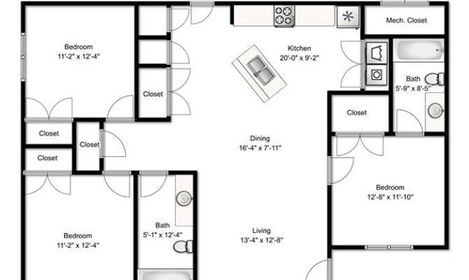 Three Bedroom Building Plan Homes Floor Plans