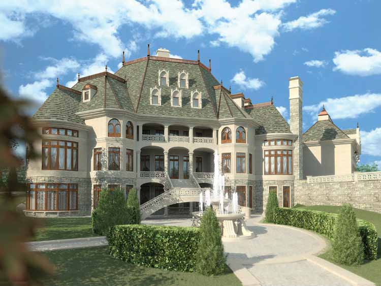 Three Bedroom Chateauesque House Plans 10764