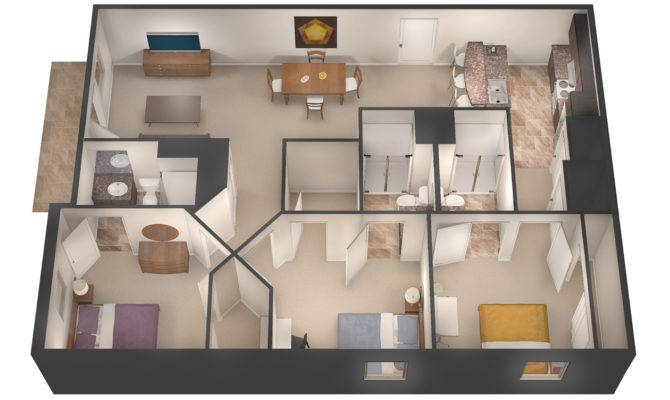 Three Bedroom Floor Plan Per Room Each Month
