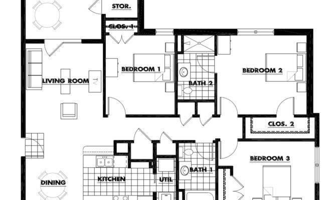 Three Bedroom Floorplan Square Feet