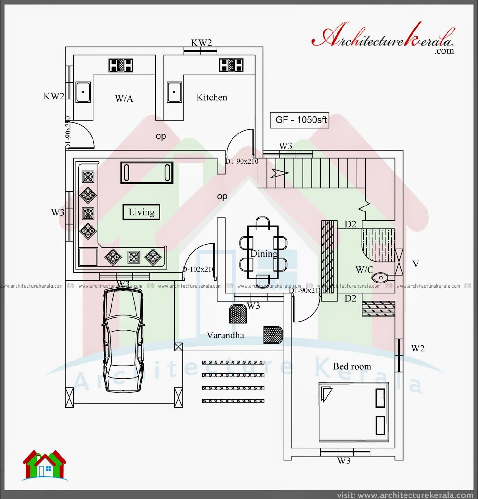 Three Bedroom Two Storey House Plan Architecture Kerala House Plans 89127