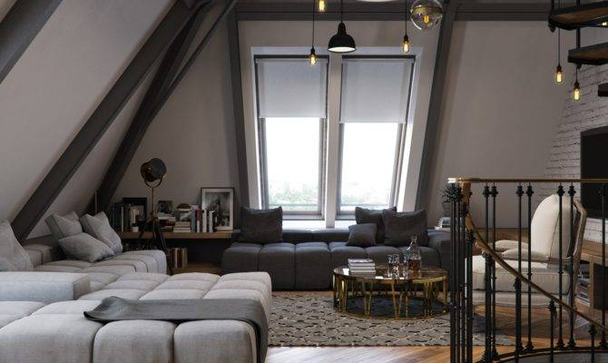 Three Dark Colored Loft Apartments Exposed Brick Walls