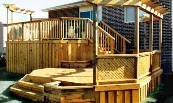 Tiered Deck Back House Garden Design