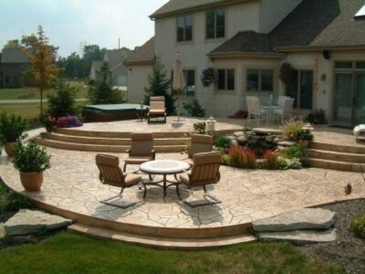 Tiered Patio Designs Stamped Concrete - House Plans | #173461 on Tiered Patio Ideas id=13131