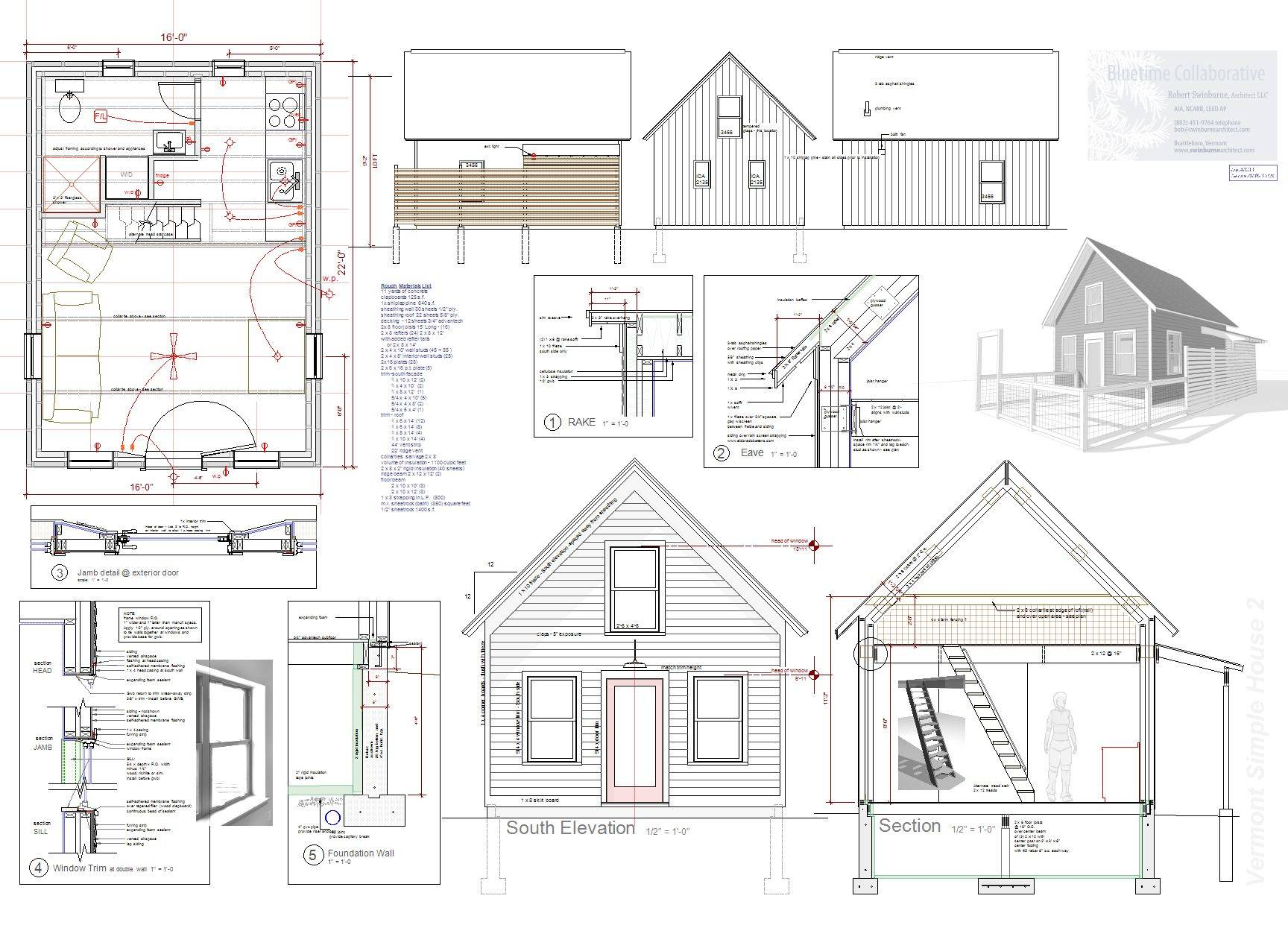Tiny House Plan Sale Vermont Architect Robert Swinburne - House