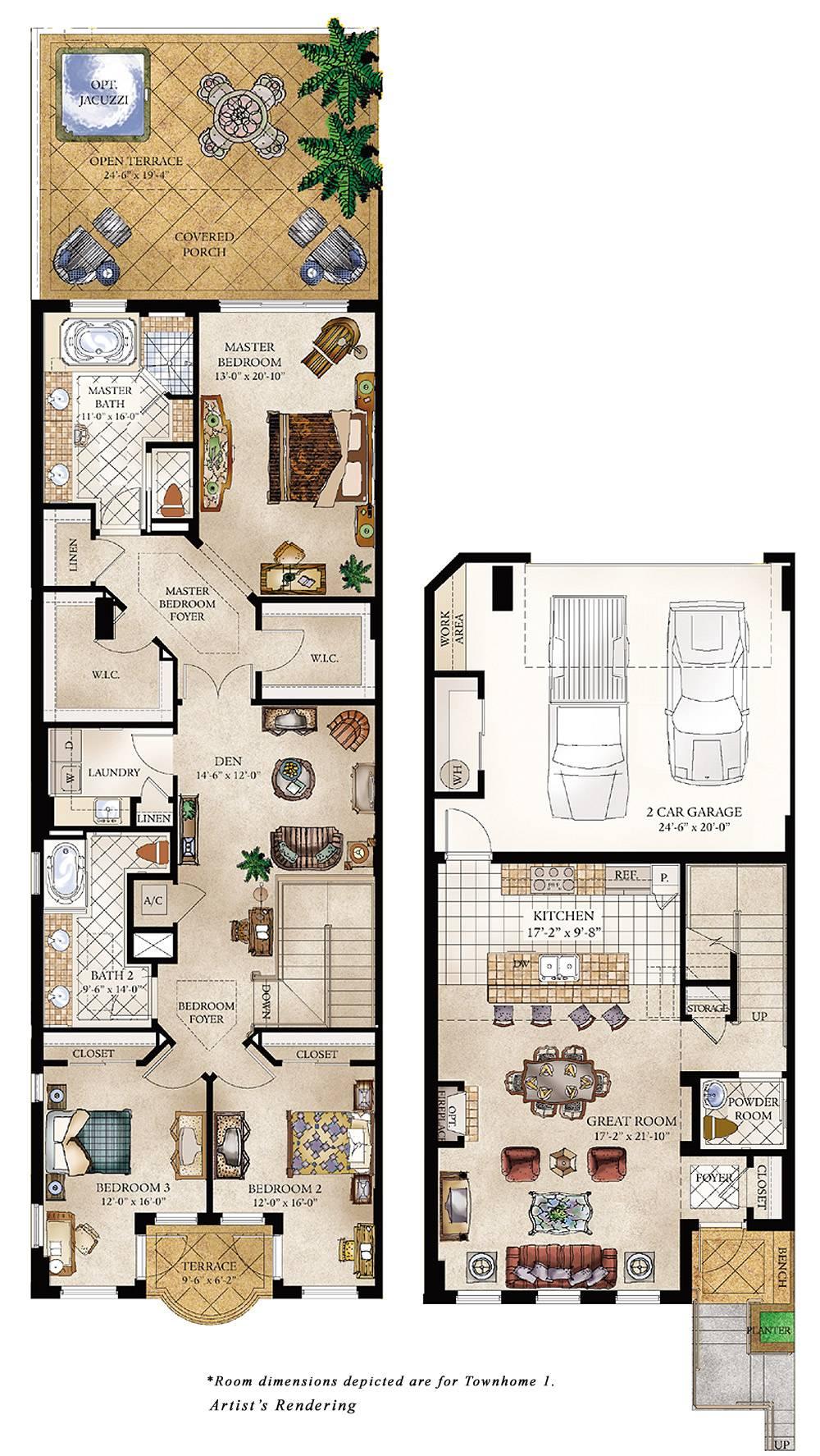 Townhouse Floor Plans Bedroom House Plans 93595