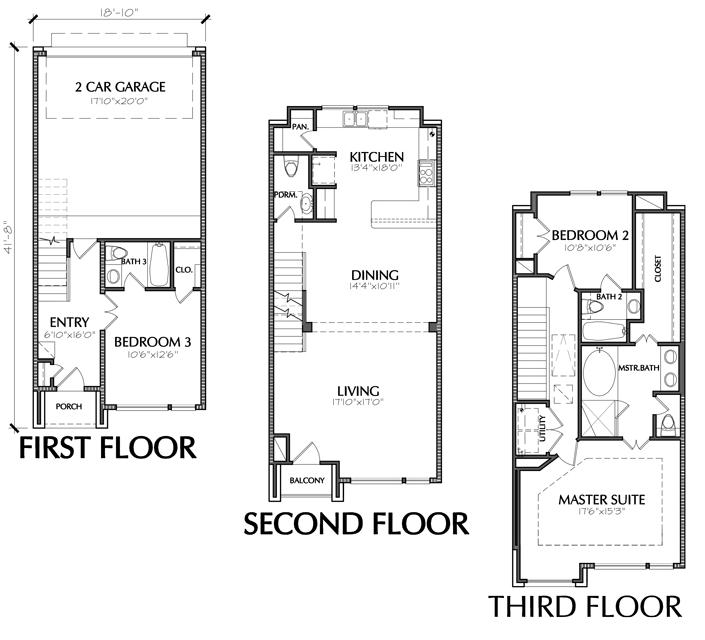 Townhouse Floor Plans Designs Homes House Plans 116212