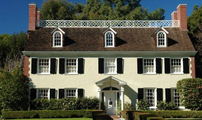 Traditional Colonial Homes Have Paired Chimneys Decorative Doorways