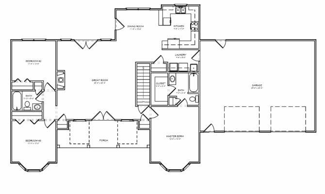 Traditional Country Houseplan Split Bedroom Greatroom