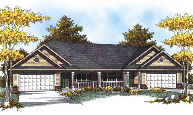 Traditional Ranch Duplex Home Plan Floor