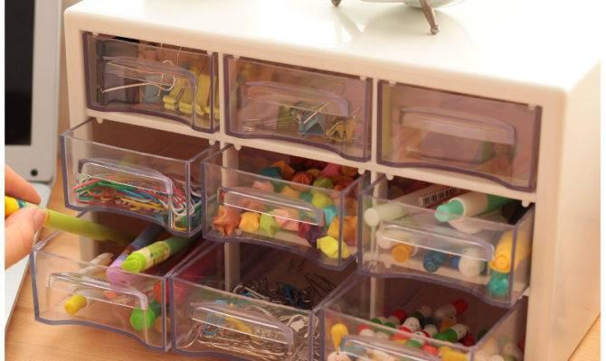 Transparent Acrylic Plastic Drawers Storage Box Desk