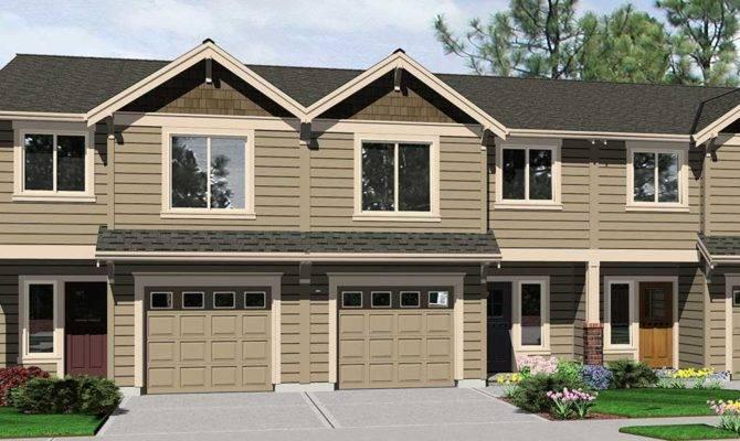 Triplex House Plans Plan Garage Wide