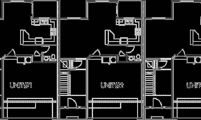 Triplex House Plans Townhouse Car Garage
