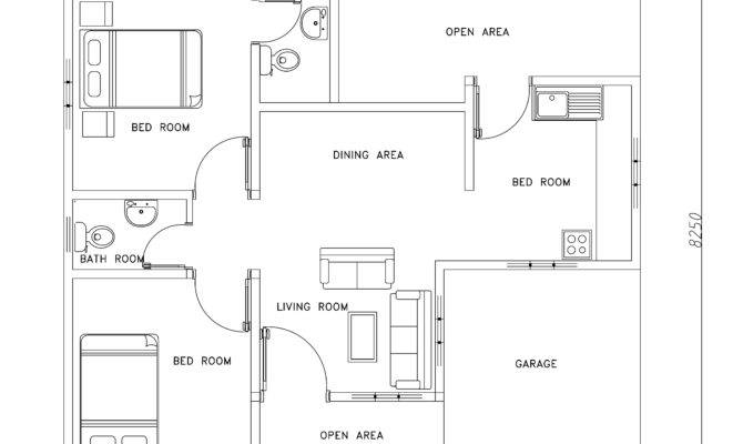 Two Bed Room Modern House Plan Dwg Cad Blocks