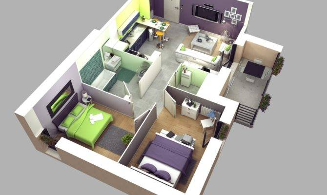 Two Bedroom Apartment House Plans Architecture House Plans 89111