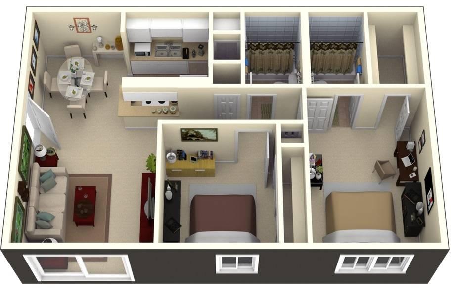 Two Bedroom House Plans Loft Bungalow House Plans 76894