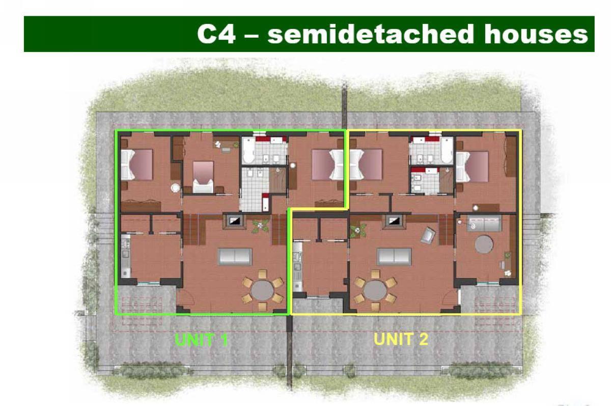 Two Bedroom Semi Detached House Plan Design Plans House Plans 89430