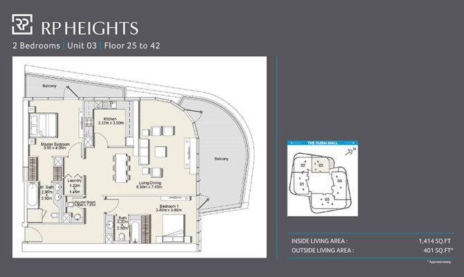 Two Bedroom Unit Floor Heights Plan