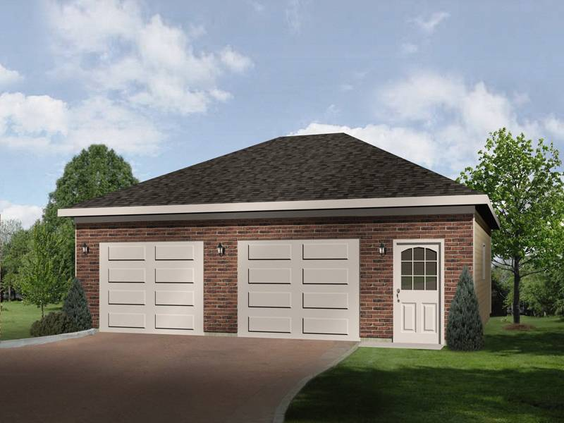 Two Car Garage Has Separate Doors Hip Roof Design House Plans 8386