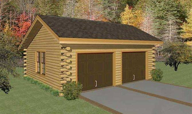 Two Car Garage Log Home Plan Mywoodhome