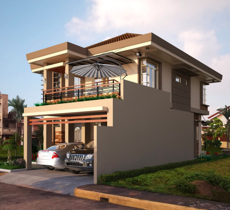 Two Double Storey Houses Small Balcony Amazing House Plans 121748