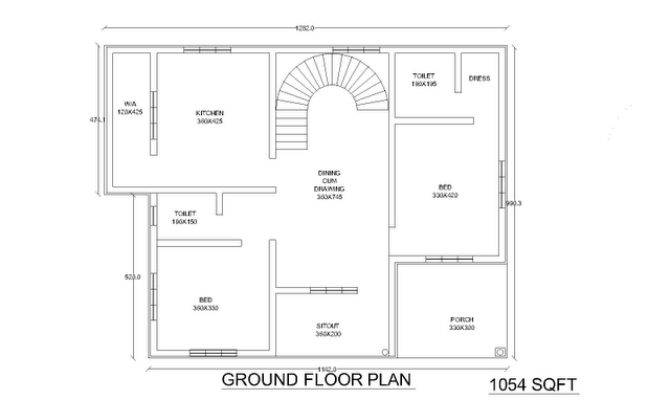 Two Low Cost Bhk Independent Single Story House Plan