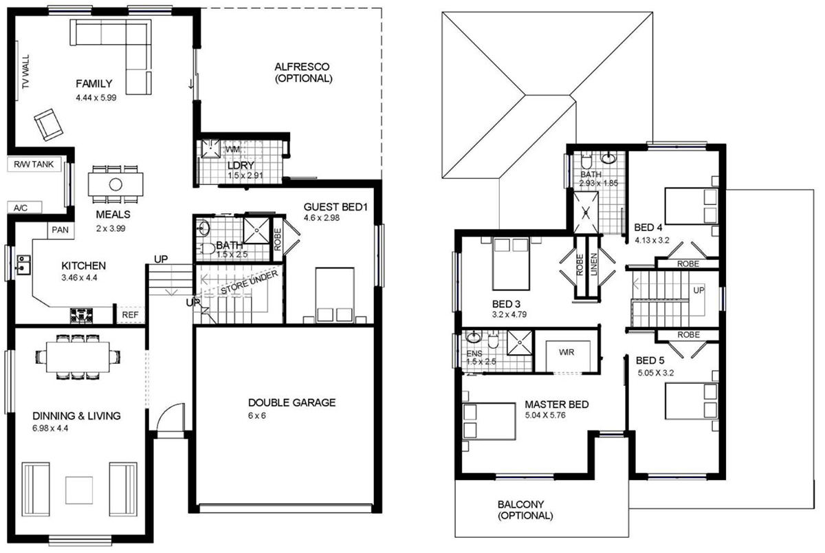 Two Story Two Bedroom House Floor Plan House Storey