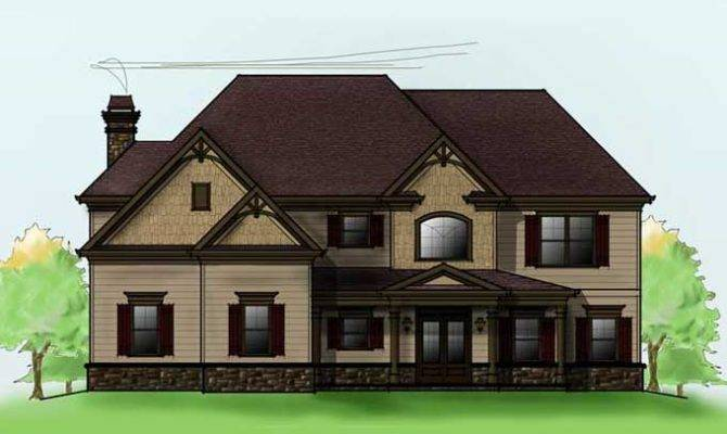 Two Story Bedroom Home Plan Car Garage