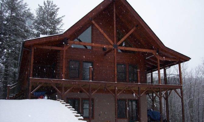 Two Story Log Homes Wrap Around Porch