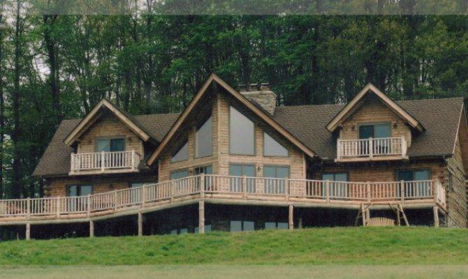 Two Story Roosevelt Model Treetop Log Homes Cabins Michigan