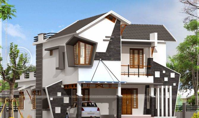 Unique House Exterior Square Feet Kerala Home